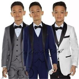 $enCountryForm.capitalKeyWord Australia - 2019 Stylish Custom Made Boy Tuxedos Shawl Lapel One Button Children Clothing For Wedding Party Kids Suit Boy Set (Jacket+Pants+Bow+Vest)