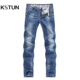 slim tapered jeans NZ - KSTUN Jeans Man Summer Thin Slim Fit Stretch Light Blue Soft Breathable Tapered Fashion Pocket Designer Letters Men Casual Pants