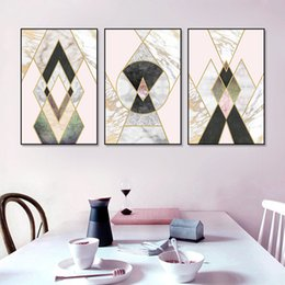 gallery canvas prints Australia - Abstract Marble Geometric Pink POP Wall Art Canvas Painting Posters and Prints Gallery Picture Living Room Interior Home Decor