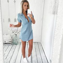 6b8376bd75 Summer Jean Dresses Australia - Sundress Jeans dress Women s casual plus  size robe femme Lady embroidery