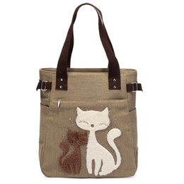 cute canvas handbags Australia - Lovely Cute Cat Canvas Handbag For Girls Ladies Large Capacity Casual Bag Women Portable Solid Zipper Shoulder Bag Bolsos Mujer J190613