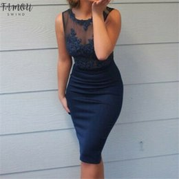 sleeveless work dresses Canada - Office Work Dress Women Lace Patchwork Dresses Sleeveless Slim OL Business Dress Elegant Sheath Party Vestidos Blue Plus Size