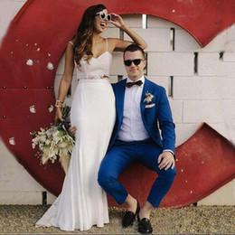 $enCountryForm.capitalKeyWord NZ - Latest Designs Men Suits Royal Blue Wedding Suits for Groom Tuxedos Slim Fit Groomsmen Wear Handsome Best Man Blazers 2 Pieces Two Button