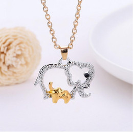 Christmas Gifts Mothers Australia - Crystal Elephant Necklace with Baby Animal Pendant Necklaces Jewelry for Mother Hot Gold Silver Plated Mothers Day Christmas Gifts Necklace