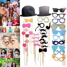 Birthday photoBooth online shopping - 36PCS Photobooth Props Party Weeding Decoration DIY Face Masks Gatsby Cap Mustache On A Stick Birthday XMAS Favor Gift