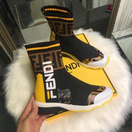 37b852d1d Calcetines como botines para hombre Zapatos de diseñador Moda para mujer  Marca de lujo Estilo atlético Raya Tela elástica Botines Botas de cuero  genuino