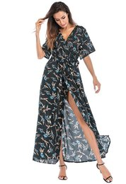 $enCountryForm.capitalKeyWord UK - 2019 new women's dress Europe and the United States deep v-neck multicolor short-sleeved chiffon floral beach skirt summer vacationblue#3339