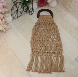 Plain Cotton Tote Australia - Handmade cotton woven wood handle womens handbags and purses hollow rope tassel beach female net straw tote Casual clutch bags