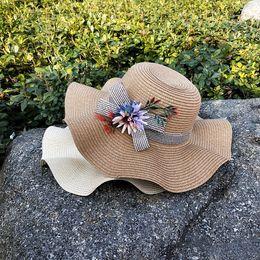 225d9c6db618a1 Korean Version of the Big Ladies Hat Seaside Holiday Travel Flowers Straw Hat  Beach Sunscreen Sun Hat
