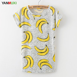 $enCountryForm.capitalKeyWord Australia - Plus Size Design Banana Print T Shirt Women 2017 Casual Short Sleeve Summer Top Street Fashion Sexy Holes Party Shirts Blusa
