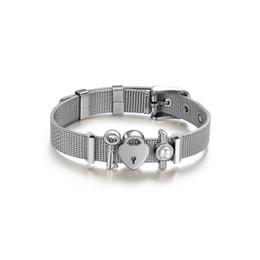 Hard-Working Fashion Stainless Steel Couple Bracelet Mesh Bracelet Hollow Love To Love Anchor Charm Fine Bracelet For Women Lover Jewelry Bracelets & Bangles