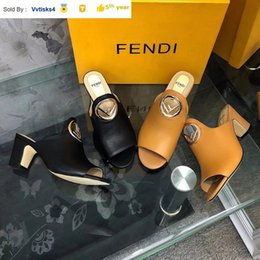 f sandals NZ - 6994 F gold buckle small heel Casual Handmade Walking Tennis Sandals Slippers Mules Slides Thongs