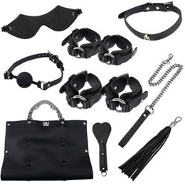sex bags Australia - Adult Games Sex Toy Kits Handcuff Footcuff Whip Blindfold For Couples Erotic Sex Bondage Toys Sex Products With Storage Bag
