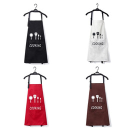 waist knife Australia - Nordic Style Apron Knife fork Print Brief Adult Water and Oil Proof Apron Kitchen Restaurant Cooking Bib Aprons with Pocket #YO