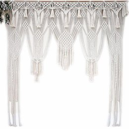 China White Bohemian Macrame Handmade Knitting Cotton Rope Tapestry Wall Hanging Tapisserie Banner Tassel Craft Home Decor Textiles cheap leave french suppliers