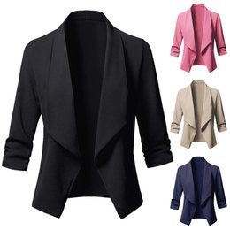 Ladies wear bLazers online shopping - Autumn Women Blazer Spring Office Wear Ladies Pink Blazer Fashion Solid Turn down Collar Casual Jacket Coats