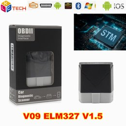 bluetooth v1.5 obd2 Canada - 10PCS LOT V09 ELM327 V1.5 Car Diagnostic tool Interface Bluetooth elm327 OBDII obd2 Code Reader Scanner For Android WINDOWS