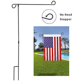 Wholesale DHL SEND Garden Flag Stand Banner Flagpole Wrought Iron Yard Garden Holds Flags up to quot in Width for Outdoor Garden Lawn