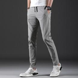 Flattering Clothes For Plus Size Australia - Light Gray Summer Mens Pants Brand Slim Fit Casual Pants Men Clothes 2019 Plus Size Simple Stretch Work For Men Trousers