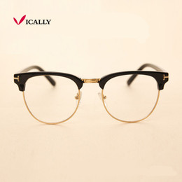 $enCountryForm.capitalKeyWord Australia - Metal Half Frame Glasses Frame Retro Fashion Woman Men Reading Glass UV Protection Clear Lens Eyewear Computer Eye glasses