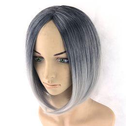 $enCountryForm.capitalKeyWord Australia - Omber Wig Grey Wig Black To Gray Short Women Hair Wigs Synthetic Heat Resistant Hair Cosplay Wig