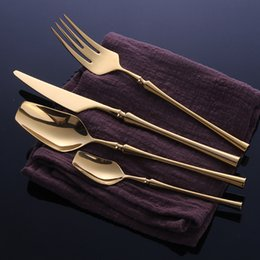 Yellow Kitchen Sets Australia - 24 Pcs Stainless Steel Tableware Gold Cutlery Set Knife Spoon and Fork Set Dinnerware Korean Food Cutlery Kitchen Accessories