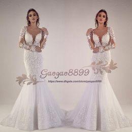 AmAzing wedding dress luxury online shopping - 2019 Tony Chaaya luxury Sexy Mermaid Wedding Dresses long sleeves amazing Lace Appliques Chapel Train Illusion Backless Formal Bridal gowns