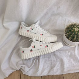 street lights post UK - Yamamoto-Style Street Snap Strawberry Shoes Women's Versatile Ulzzang Canvas Shoes 2019 New Style Students Hong Kong Style White