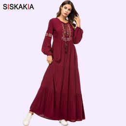 $enCountryForm.capitalKeyWord Australia - Siskakia Vintage Ethnic Geometric Embroidery Women Long Dress 2019 Casual Maxi Dresses Long Sleeve Draped Swing Burgundy MX190727