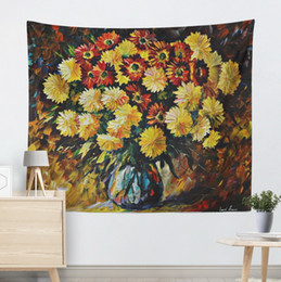 oil painting blue flowers panels Australia - Flower pattern explosive oil painting Blues yellow daisy hanging cloth wall decorative blanket tapestry background cloth tablecloth hanging