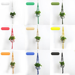 baskets flowers 2019 - Plants Hanger Hook Flower Pot Holder Handmade Knitting Natural Corsage Planter Holder Basket Home Garden Balcony Decorat