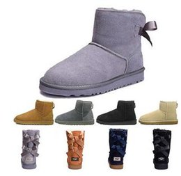 light blue boots women NZ - WGG Women Winter Snow Boots Australia Tall Short Kneel Ankle Black Grey Chestnut Navy Blue Red Coffee Cheap Lady Girl Size 36-44
