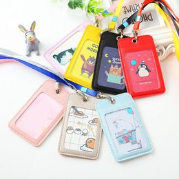 leather id card badge holder 2019 - Cartoon Leather Credit Card Holder Women Men Cute Animal Business Badge Id Card Case Kids Gift Bus Bank Card Wallet chea
