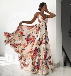 $enCountryForm.capitalKeyWord Australia - Oulylan Women Sexy Summer Floral Prin Dress Sleeveless V-Neck Backless Ladies Long Boho Cocktail Party Loose Beach Dresses