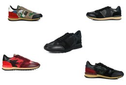 Ingrosso Fashion Stud Camouflage Sneakers Shoes Calzature Uomo Donna Flats Designer Rockrunner Scarpe casual