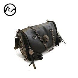 MINCH Women s Cool Handbag Fashion Tassel Skull Rivet Punk Chain Messenger  Bag PU Leather Shoulder Bags  275117 da6a2fd3a7