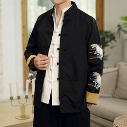 Chinese Collar Jackets Australia - High Quality Dragon Embroidery Bomber Jacket Coat Men Chinese Style Male Jackets Vintage Casaco Masculino Chaquetas Hombre Homme