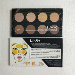 full color makeup cosmetic Canada - Hot Face Makeup NYX Highlight & Contour palette nyx cosmetics Bronzers Highlighter 8 color eyeshadow free shipping