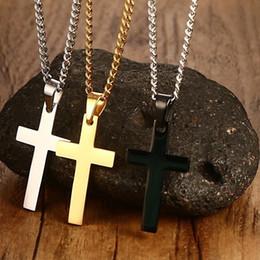 Venta al por mayor de Unisex hombres mujeres oro plata acero inoxidable cruz collar colgante cadena regalo de la joyería de moda