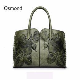 $enCountryForm.capitalKeyWord Australia - Osmond Bolsa Feminina 2018 Ladies Genuine Leather Bag For Women Green Luxury Handbag Female Embossed Messenger Bag Brand Totes Y19061705