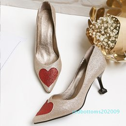 cheap high shoes Australia - Cheap and High Quality Supplier Glitter Heart Shaped Pointed-toe High Heels Slip-on Pumps Women's Dress Shoes r09