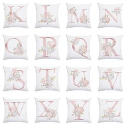 $enCountryForm.capitalKeyWord Australia - European Simple Style of Valentine's Day Gift Pink Bronzing 26 English Letter Peach-skin Pillow Holder Cover and Cushion Cover