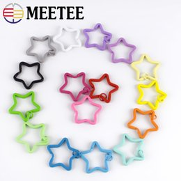 $enCountryForm.capitalKeyWord Australia - Meetee 35mm Candy Color Keychain Circle Rings Buckles Star Shape Key Holder Split Rings DIY Keychain Decor Accessories