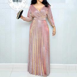 $enCountryForm.capitalKeyWord Australia - 2019 Reflective Long Dress Women Pleated Sexy Deep V Neck Elegant Spring High Waist Belt Glitter Evening Party Pink Maxi Dresses J190626