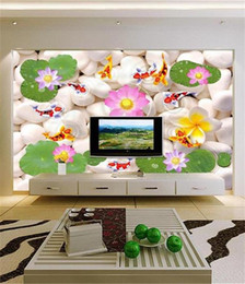 Wall Stickers Rock Australia - custom size 3d photo wallpaper living room mural Nine Fish and Lotus White Rock 3d picture sofa TV backdrop wallpaper non-woven wall sticker