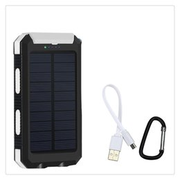 Solar Connectors Australia - Solar Powered Power Bank Waterproof Anti-skid Shockproof Dual USB Output Portable Solar Charger with Compass New