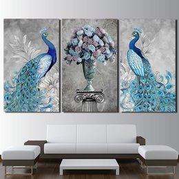 $enCountryForm.capitalKeyWord Australia - Newest Western Style Abstract 3 Pieces Blue Peacock Vase Oil Painted Printed Canvas Painting Living Room Wall Art Pictures J190707