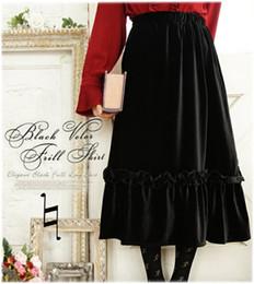 $enCountryForm.capitalKeyWord NZ - Solid Black Velvet Skirt Japan Style Ruffles Long Maxi Skirts For Plus Size Women Pleated Skirt Loose Casual Mori Girl Saia