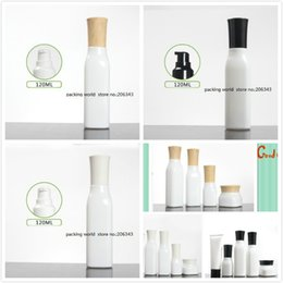 Cosmetic Glasses Australia - 120ml square shape white glass bottle with press pump lotion emulsion serum foundation toner water skin care cosmetic packing