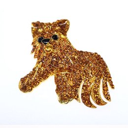 Dog Plates Australia - 20pcs lot wholesale high quality gold plated rhinestone cute poodle dog Animal Brooch Pin Jewelry for gift party